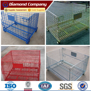 colorful collapsible and stackable warehouse storage cage,industrial lackable wire mesh storage cage