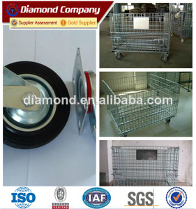 Folding industrial metal storage cages with wheels,warehouse folding steel storage cage,foldable metal cage storage container