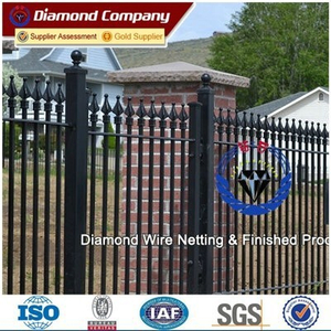 Professional factory wrought iron fence designs/prefab iron fence panels