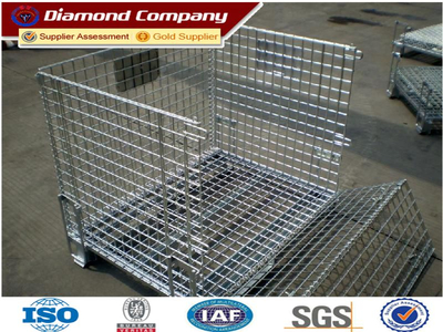 Standard quality warehouse storage cage for sale,wire mesh container,Steel wire folding storage cage.North America,Europe,Asia,