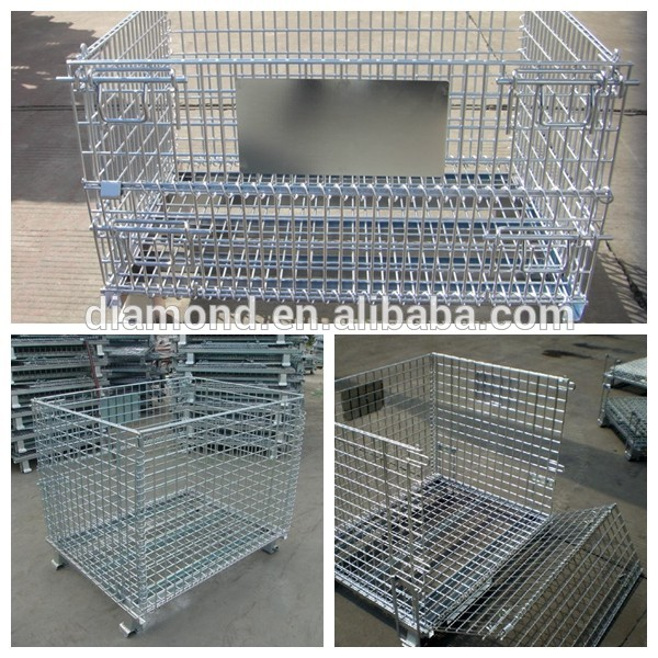 Metal Folding Storage Cage/industrial stackable wire mesh storage cage/steel storage cage/steel wire storage cage